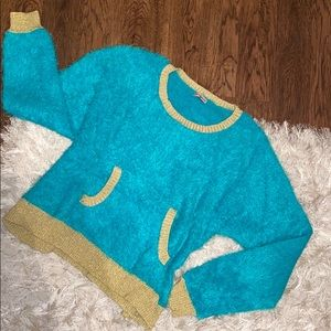 JUICY COUTURE blue sparkly gold fuzzy sweater